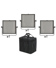 Studio Light Panels 3 x LED Panel 1x1 Bi-C DMX